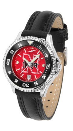 Nebraska Cornhuskers Competitor Ladies AnoChrome Watch with Leather Band and Colored Bezel