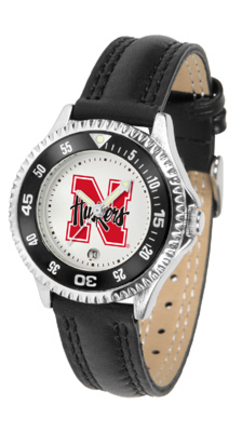 Nebraska Cornhuskers Competitor Ladies Watch with Leather Band
