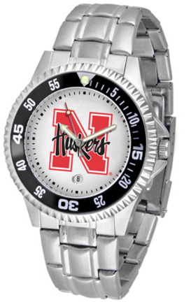 Nebraska Cornhuskers Competitor Watch with a Metal Band