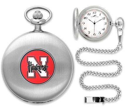 Nebraska Cornhuskers Silver Pocket Watch