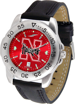 Nebraska Cornhuskers Sport AnoChrome Men's Watch with Leather Band