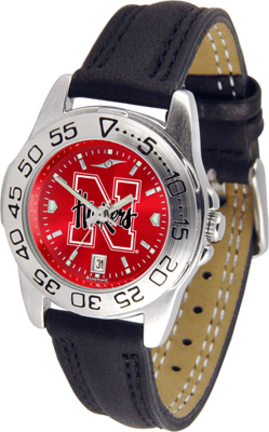 Nebraska Cornhuskers Sport AnoChrome Ladies Watch with Leather Band