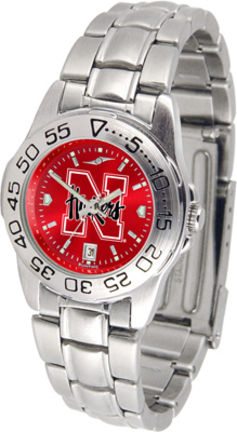 Nebraska Cornhuskers Sport AnoChrome Ladies Watch with Steel Band