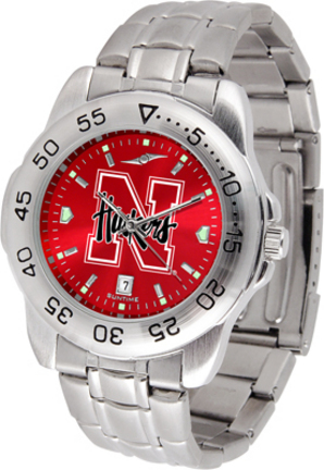 Nebraska Cornhuskers Sport Steel Band Ano-Chrome Men's Watch