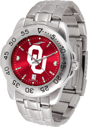 Oklahoma Sooners Sport Steel Band Ano-Chrome Men's Watch