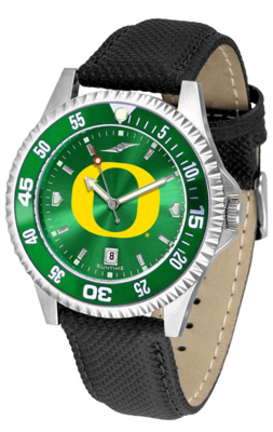 Oregon Ducks Competitor AnoChrome Men's Watch with Nylon/Leather Band and Colored Bezel