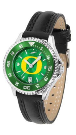 Oregon Ducks Competitor Ladies AnoChrome Watch with Leather Band and Colored Bezel
