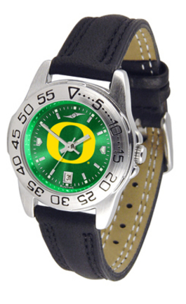 Oregon Ducks Sport AnoChrome Ladies Watch with Leather Band