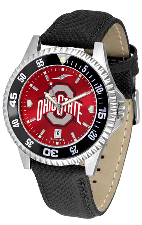 Ohio State Buckeyes Competitor AnoChrome Men's Watch with Nylon/Leather Band and Colored Bezel
