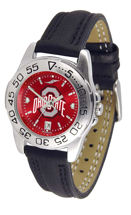 Ohio State Buckeyes Sport AnoChrome Ladies Watch with Leather Band
