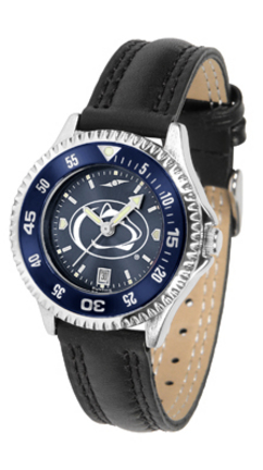 Penn State Nittany Lions Competitor Ladies' AnoChrome Watch with Leather Band and Colored Bezel
