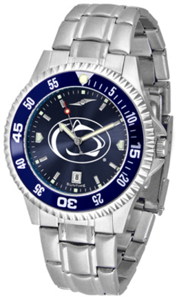 Penn State Nittany Lions Competitor AnoChrome Men's Watch with Steel Band and Colored Bezel