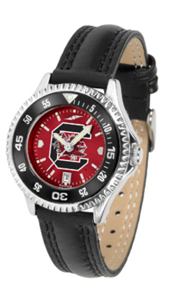 South Carolina Gamecocks Competitor Ladies AnoChrome Watch with Leather Band and Colored Bezel