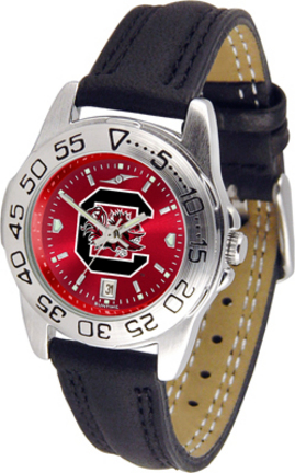 South Carolina Gamecocks Sport AnoChrome Ladies Watch with Leather Band