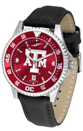 Texas A & M Aggies Competitor AnoChrome Men's Watch with Nylon/Leather Band and Colored Bezel