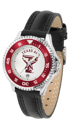 Texas A & M Aggies Competitor Ladies Watch with Leather Band