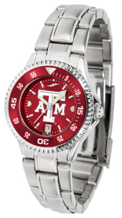 Texas A & M Aggies Competitor AnoChrome Ladies Watch with Steel Band and Colored Bezel