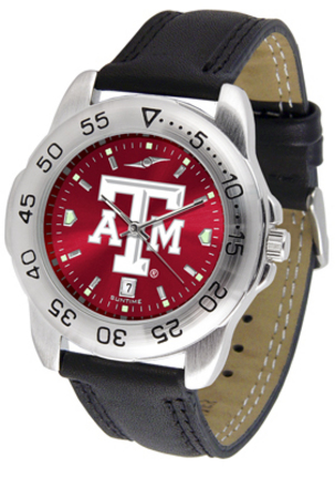 Texas A & M Aggies Sport AnoChrome Men's Watch with Leather Band