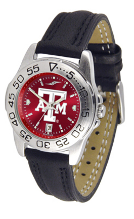 Texas A & M Aggies Sport AnoChrome Ladies Watch with Leather Band
