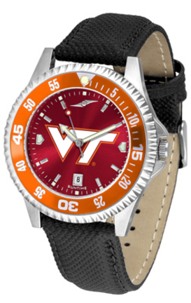 Virginia Tech Hokies Competitor AnoChrome Men's Watch with Nylon/Leather Band and Colored Bezel
