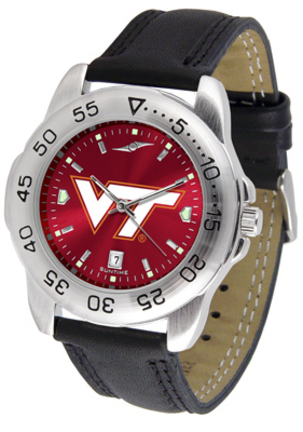 Virginia Tech Hokies Sport AnoChrome Men's Watch with Leather Band