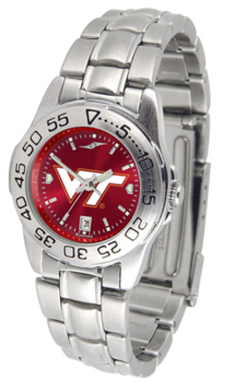 Virginia Tech Hokies Sport AnoChrome Ladies Watch with Steel Band