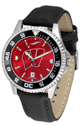 Wisconsin Badgers Competitor AnoChrome Men's Watch with Nylon/Leather Band and Colored Bezel