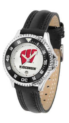 Wisconsin Badgers Competitor Ladies Watch with Leather Band