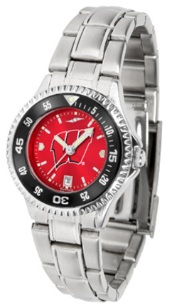 Wisconsin Badgers Competitor AnoChrome Ladies Watch with Steel Band and Colored Bezel