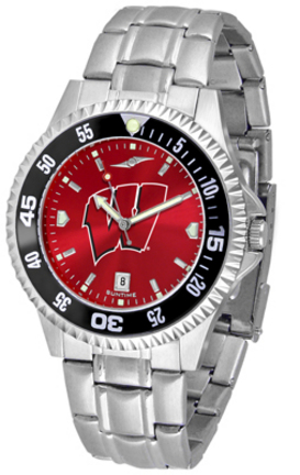 Wisconsin Badgers Competitor AnoChrome Men's Watch with Steel Band and Colored Bezel