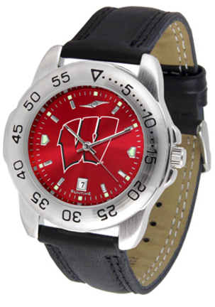 Wisconsin Badgers Sport AnoChrome Men's Watch with Leather Band
