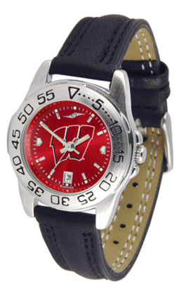 Wisconsin Badgers Sport AnoChrome Ladies Watch with Leather Band
