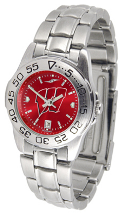 Wisconsin Badgers Sport AnoChrome Ladies Watch with Steel Band