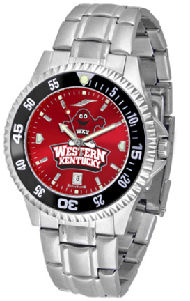 Western Kentucky Hilltoppers Competitor AnoChrome Men's Watch with Steel Band and Colored Bezel