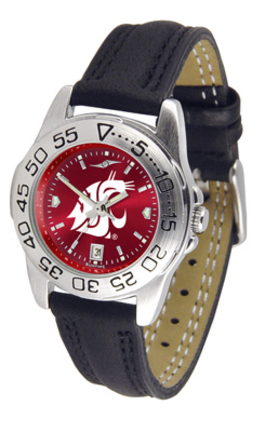 Washington State Cougars Sport AnoChrome Ladies Watch with Leather Band