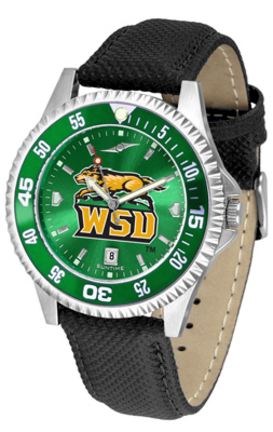 Wright State Raiders Competitor AnoChrome Men's Watch with Nylon/Leather Band and Colored Bezel