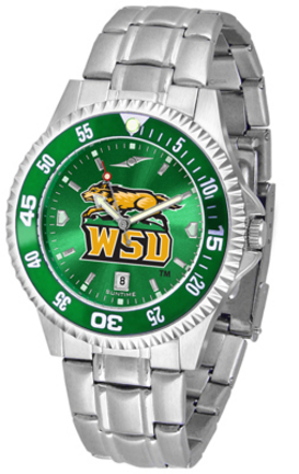 Wright State Raiders Competitor AnoChrome Men's Watch with Steel Band and Colored Bezel
