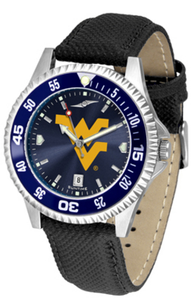 West Virginia Mountaineers Competitor AnoChrome Men's Watch with Nylon/Leather Band and Colored Bezel