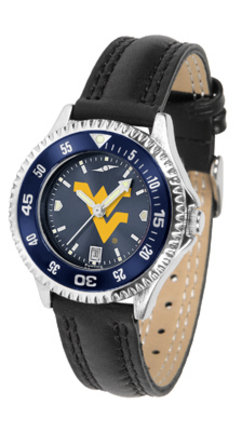 West Virginia Mountaineers Competitor Ladies AnoChrome Watch with Leather Band and Colored Bezel