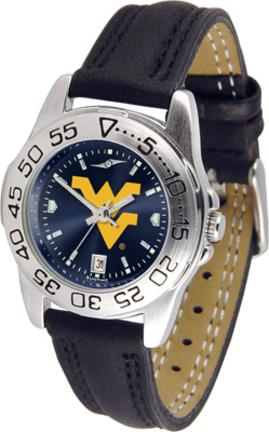West Virginia Mountaineers Sport AnoChrome Ladies Watch with Leather Band