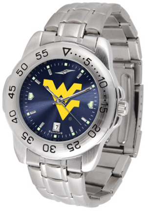 West Virginia Mountaineers Sport Steel Band Ano-Chrome Men's Watch