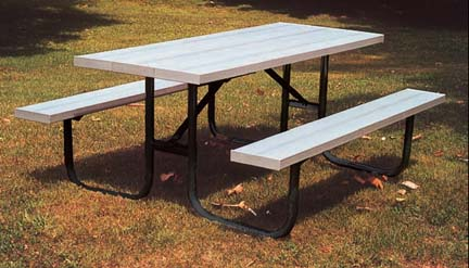 "6' Durable All Welded Picnic Table With 2"" x 10"" x 6' Untreated Pine Planks"