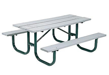 "8' Durable All Welded Picnic Table With 2"" x 10"" x 8' Gray Recycled Plastic Planks"