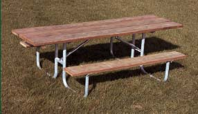 8' Wheelchair Accessible Durable All Welded Picnic Table With Top of Untreated Pine Planks