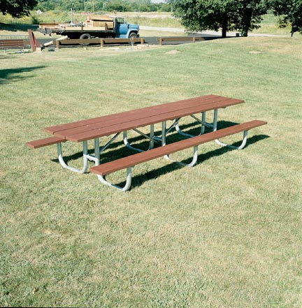 """12' Extra Heavy Duty Shelter All Welded Picnic Table With 2"""" x 10"""" x 12' Untreated Pine Planks"""