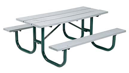 """8' Extra Heavy Duty All Welded Picnic Table With 2"""" x 10"""" x 8' Gray Recycled Plastic Planks"""