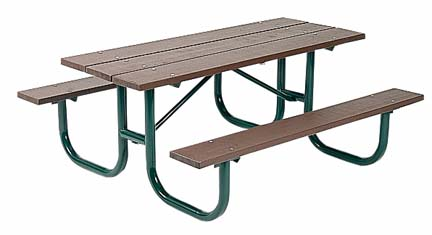 """8' Extra Heavy Duty All Welded Picnic Table With 2"""" x 10"""" x 8' Redwood Stained Pine Planks"""