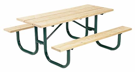 """6' Extra Heavy Duty All Welded Picnic Table With 2"""" x 10"""" x 6' Aluminum Planks"""