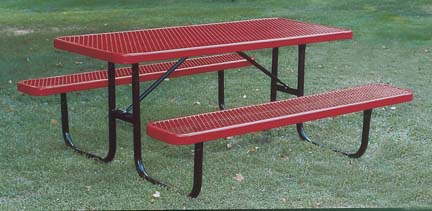 """6' Extra Heavy Duty All Welded Picnic Table With 2"""" x 10"""" x 6' Vinyl Clad Expanded Steel Planks"""