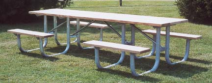 8' Single Sided Wheelchair Accessible Extra Heavy Duty All Welded Picnic Table With Top of Untreated Pine Planks